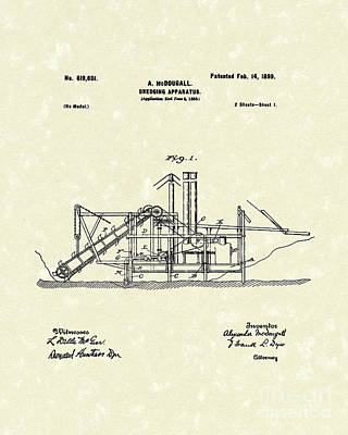 Drawing - Dredging Apparatus 1899 Patent Art by Prior Art Design