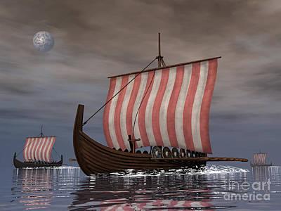 Water Vessels Digital Art - Drekar Viking Ships Navigating by Elena Duvernay