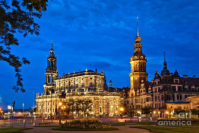 Dresden Wall Art - Photograph - Dresden At Night by Delphimages Photo Creations