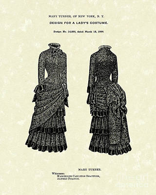 Drawing - Dress Design 1884 Patent Art by Prior Art Design