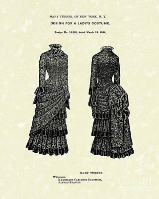 Drawing - Dress Design 1884 Patent Art by Prior Art Design