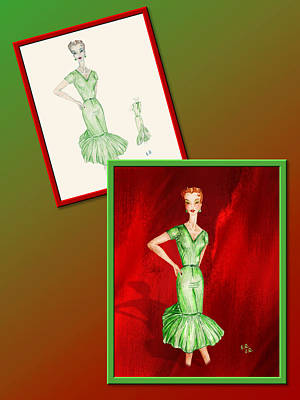 Drawing - Dress Design 27 by Judi Quelland