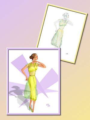 Drawing - Dress Design 31 by Judi Quelland