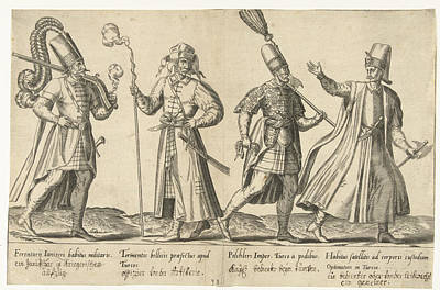 Infantryman Drawing - Dress Of Ottoman Soldiers Around 1580, Abraham De Bruyn by Abraham De Bruyn And Joos De Bosscher