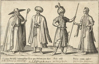 Dress Of Ottomans And Persians Around 1580 Art Print