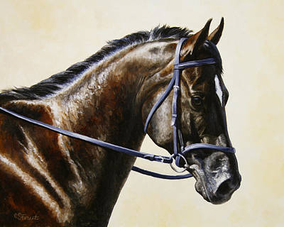 Bay Horse Painting - Dressage Horse - Concentration by Crista Forest