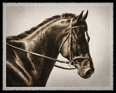Monochrome Painting - Dressage Horse Old Photo Fx by Crista Forest