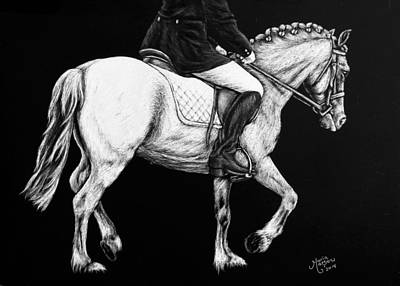Drawing - Dressage Rider And Pony by Monique Morin Matson