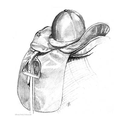 English Riding Drawing - Dressage Saddle And Helmet by Renee Forth-Fukumoto