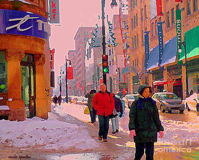 Montreal Winter Scenes Painting - Dressed For Winter Walk Beautiful Day Telus Mobility Rue St Catherine Downtown Mtl Scenes C Spandau by Carole Spandau