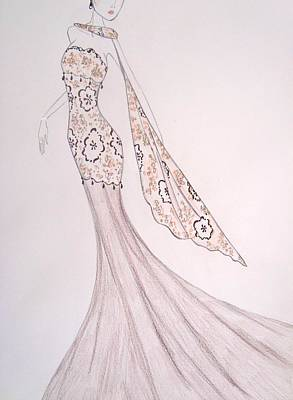 Damask Drawing - Dressed In Damask by Christine Corretti