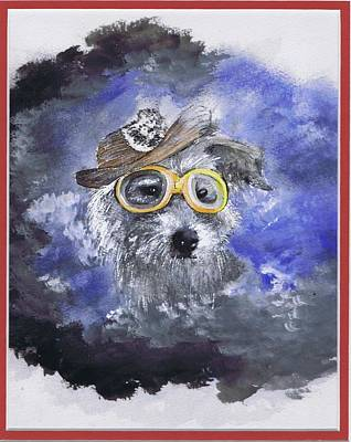 Painting - Dressed Up Dog by Jerry Bates