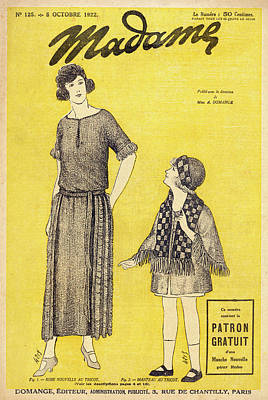 Girl With Coat Drawing - Dressmaking Patterns Barrel- Line Dress by Mary Evans Picture Library