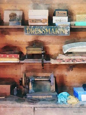 Nostalgic Photograph - Dressmaking Supplies And Sewing Machine by Susan Savad