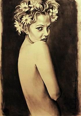 Beverly Hills Drawing - Drew Barrymore by Ashok Karnik