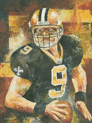 New Orleans Oil Painting - Drew Brees by Christiaan Bekker