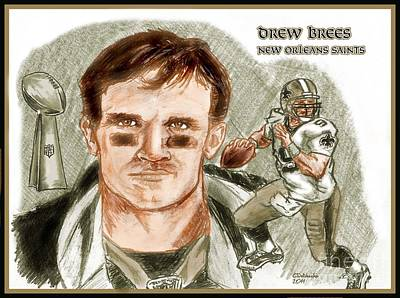 Drawing - Drew Brees Dk by Chris  DelVecchio