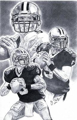 New Orleans Saints Drawings Drawing - Drew Brees by Jonathan Tooley