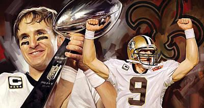 Orleans Mixed Media - Drew Brees New Orleans Saints Quarterback Artwork by Sheraz A