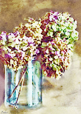 Photograph - Dried Autumn Hydrangeas - Digital Paint by Debbie Portwood