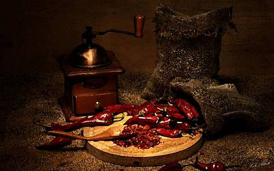 Dried Chilies Art Print by Cole Black