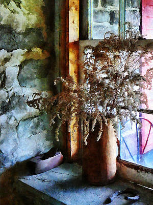 Photograph - Dried Flowers On Windowsill by Susan Savad