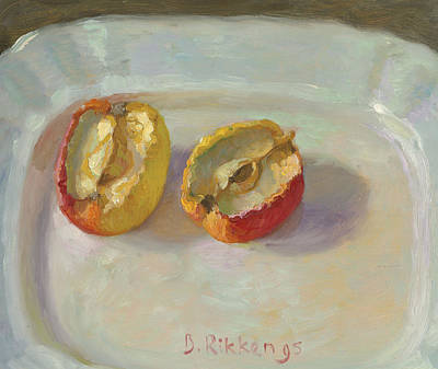 Painting - Dried Out Apple On A White Plate by Ben Rikken