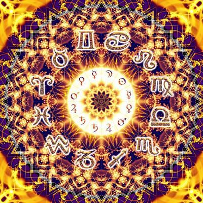 Digital Art - Drifting Alchemical Zodiac Chart by Derek Gedney