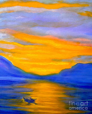 Drifting At Sunset Art Print by Nancy Rucker
