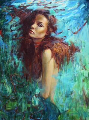Naiad Painting - Drifting Away by Oksana Zhelisko