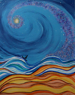 Star Burst Painting - Drifting by Kathy Peltomaa Lewis