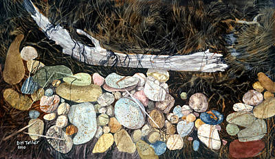 Painting - Driftwood And Pebbles by Douglas Teller