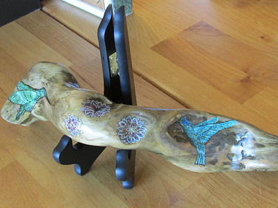 Painting - Driftwood Art - Hummingbirds by Cheryl Bailey