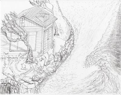 Drawing - Driftwood Beach House by Jim Taylor
