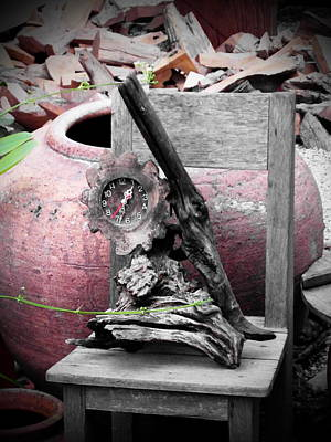 Driftwod Photograph - Driftwood Clock by Ian Scholan