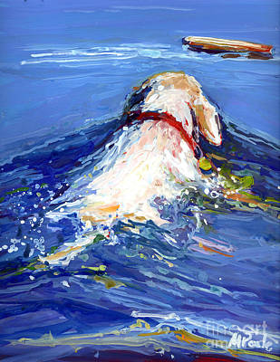 Yellow Labrador Retriever Painting - Driftwood by Molly Poole