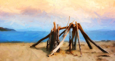 Of The Rincon Photograph - Driftwood Sculpture At Rincon by Ron Regalado