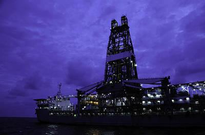 Drillship Photograph - Drill Ship At Night by Bradford Martin