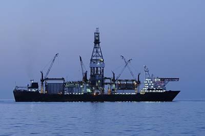 Drillship Photograph - Drill Ship Before Dawn by Bradford Martin