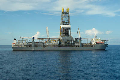 Drillship Photograph - Drill Ship In Ocean by Bradford Martin