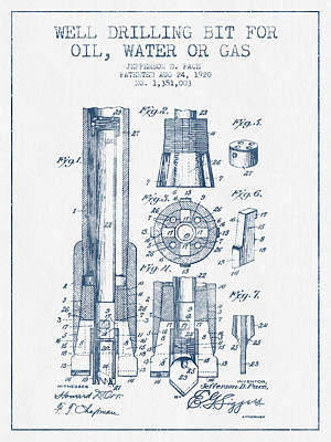 Drilling Bit For Oil Water Gas Patent From 1920 -  Blue Ink Print by Aged Pixel