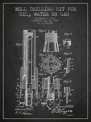 Drilling Bit For Oil Water Gas Patent From 1920 - Dark Art Print by Aged Pixel