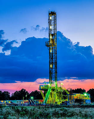 Drilling Rig Photograph - Drilling Into The Night by Geoff Mckay