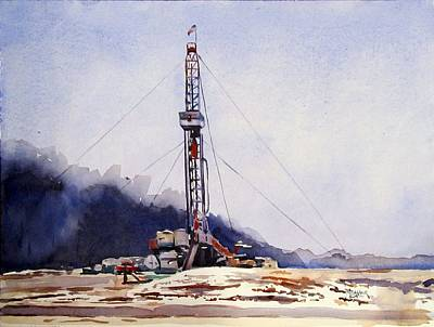 Oil Rig Painting - Drilling Near The Dry Fork by Spencer Meagher