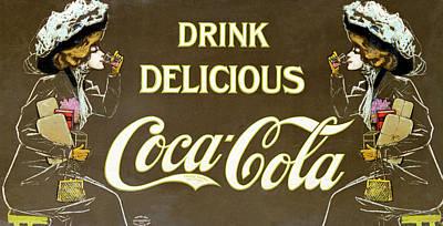 Edwardian Woman Digital Art - Drink Delicious Coca Cola by Georgia Fowler