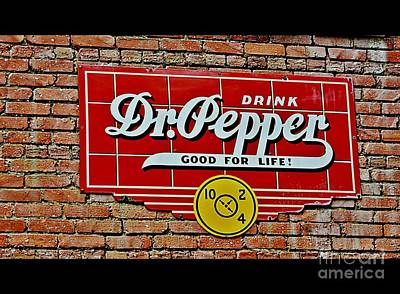 A Good Year Photograph - Drink Dr Pepper Vintage Sign by JW Hanley