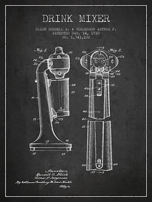 Martinis Digital Art - Drink Mixer Patent From 1930 - Dark by Aged Pixel