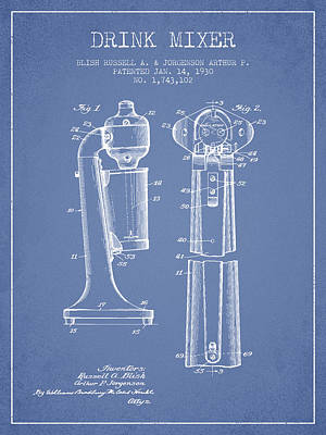 Martinis Digital Art - Drink Mixer Patent From 1930 - Light Blue by Aged Pixel