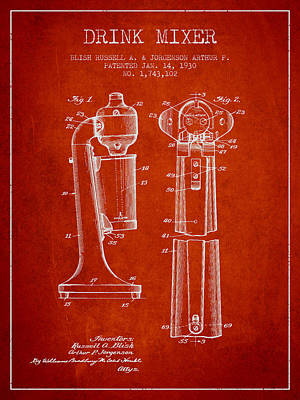 Martinis Digital Art - Drink Mixer Patent From 1930 - Red by Aged Pixel