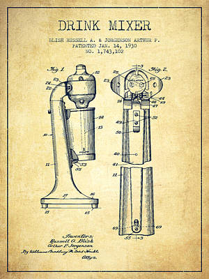 Shakers Drawing - Drink Mixer Patent From 1930 - Vintage by Aged Pixel